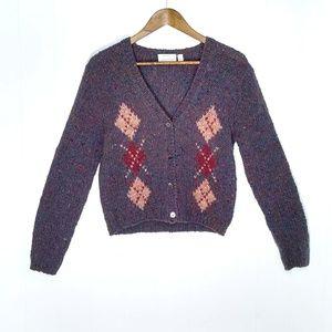 Ellen Tracy Hand Knit Wool Sweater Cardigan